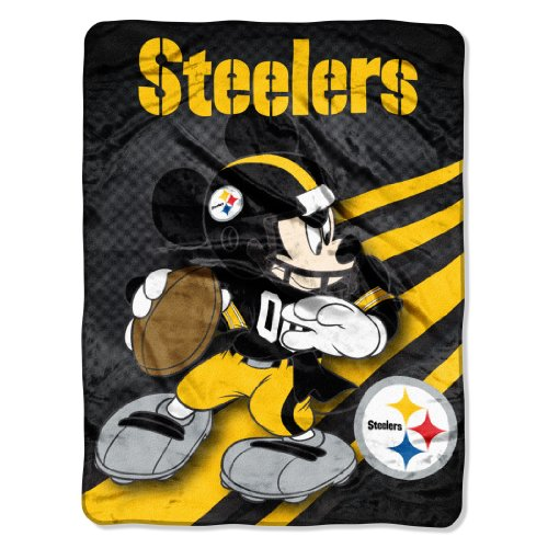 Nfl Pittsburgh Steelers Mickey Mouse Ultra Plush Micro Super Soft Raschel Throw Blanket front-488375