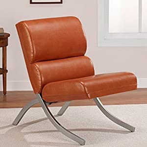 Amazon Rust Colored Faux Leather Accent Chair