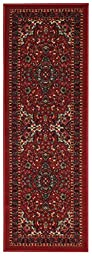 Anti-Bacterial Rubber Back LONG RUGS RUNNERS Non-Skid/Slip 3x10 Runner Rug | Red Traditional Floral Indoor/Outdoor Thin Low Profile Modern Home Floor Kitchen Hallways Colorful Decorative Rug