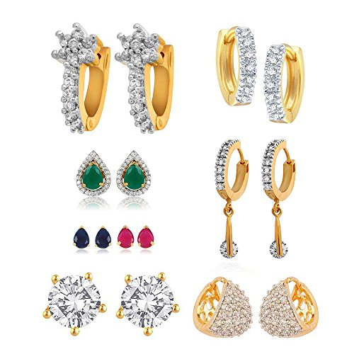 Zeneme Multi Color American Diamond Hoop Earring for Women/Girls(combo of 6)