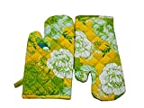 Tidy Green, Yellow & White Colour Floral Printed Cotton Micro Oven Hand Glove - Pack of 2pcs