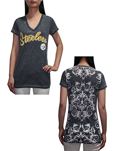 Nfl Pittsburgh Steelers Womens V-Neck T-Shirt (Vintage Look) M Grey