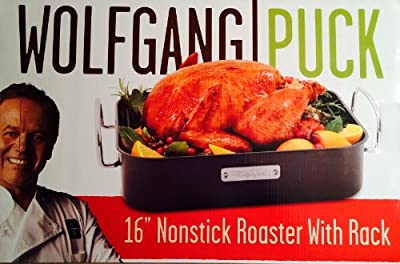 "Wolfgang Puck 16"" Carbon Steel Nonstick Roaster and Rack"