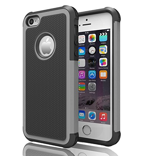 iPhone 5s Case ,[Corner Protection] Protective Case Detachable Defender Thin Protective Anti-dirt Scratch Resistant Hard Soft Heavy Duty Rubber Bumper Cover for iPhone 5 5s(Black/Grey) (Iphone 5s Body Space Gray compare prices)