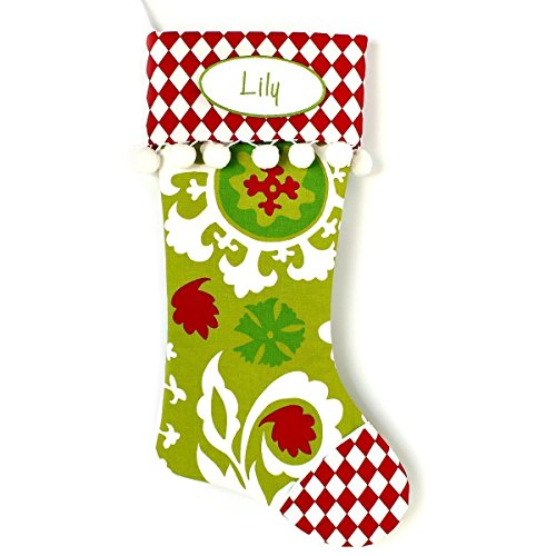Plush Holiday Christmas Stocking with Optional Personalization - 12 Different Fabric Choices