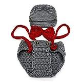 Ropa del bebe - TOOGOO(R)Recien nacido bebe hecho a mano punto de ganchillo ropa apoyo foto trajes sombrero+pantalones (tirantes, Gris)
