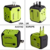 Travel-Adapter-Uppel-All-in-one-Worldwide-Travel-Chargers-Adapters-for-US-EU-UK-AU-about-150-countries-Wall-Universal-Power-Plug-Adapter-Charger-with-Dual-USB-and-Safety-FuseGreen