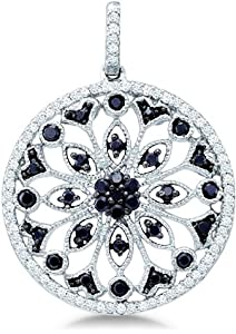 Black and White Round Diamond Circle Infinity Unique Design 10k White Gold Pendant - 22mm Width * 22mm Height (1/2 cttw)