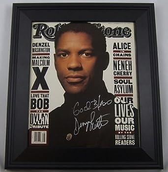 Denzel Washington Malcolm X Signed Autographed 1992 Rolling Stone Magazine Framed Loa