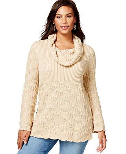 Style & Co. Women's Plus Size Cowl-Neck Mixed-Knit Sweater (Cowl Sweater Plus Size compare prices)