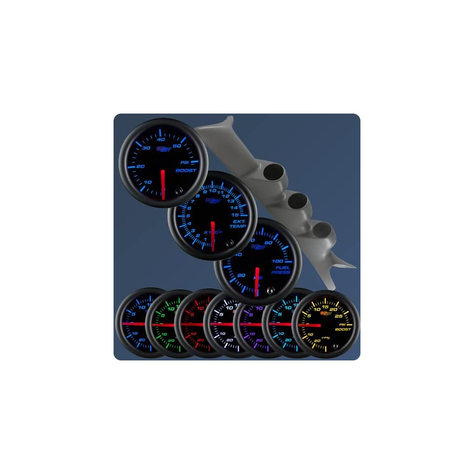 GlowShift 99 07 Ford Superduty Gray Gauge Package Black Face Boost, EGT & Fuel Pressure 6.0L
