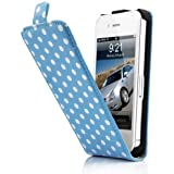 niceEshop(TM) Blue/White Polka Dot Pattern Flip Hard Synthetic Leather Case Cover for iPhone4 4G 4S +Screen Protector