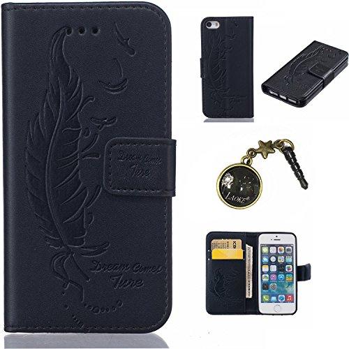 Case pour la Apple iPhone 5 / 5s / SE Coque,Campanula plume Étui en PU Cuir Phone Case Cover Couverture Fonction Support avec Fermeture Aimantée de