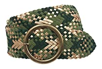 "2 3/4"" Velvet Wide Braided Woven Belt with Metal Circle Ring Buckle Size: M/L - 41 END-TO-END Color: Green"