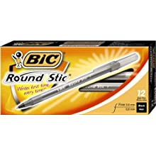 BIC Round Stic Ball Pen, Fine Point (0.8 mm), Black, 12 Pens (3 Packages of 12 Pens)