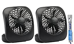 02cool 5 Inch Battery Operated Fan, Portable Personal Desk Fan W/ Bonus Bigdeal Flash Light 2 Count