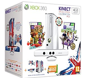 Xbox 360 4GB Console - Celebration Pack [includes Kinect Sensor, Wireless Controller, 3 Month Xbox LIVE Membership and two games]