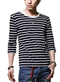 紺x白(厚め) U L マリン ボーダー カットソー 7分袖 Tシャツ メンズ Uネック Vネック 605072