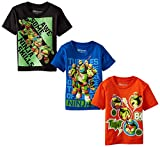 Nickelodeon Little Boys' TMNT Tee, Multi Colored, 4T (Pack of 3)