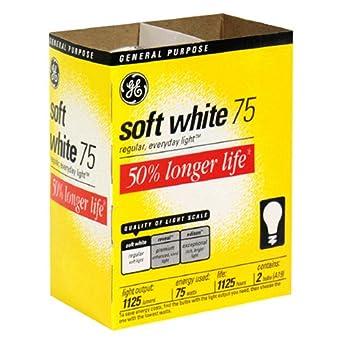 GE Lighting 97497 Soft White Long Life General Purpose A19 Bulb, 75-Watt, 2 pack