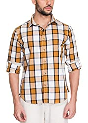Zovi Cotton Slim Fit Casual White and Brown Checkered Shirt with Roll-ups(11895400901_X-Large)