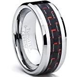 8MM Men's Tungsten Carbide Ring W/ BLACK & RED Carbon Fiber Inaly