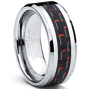 8MM Men's Tungsten Carbide Ring W/ BLACK & RED Carbon Fiber Inlay Size Z+1