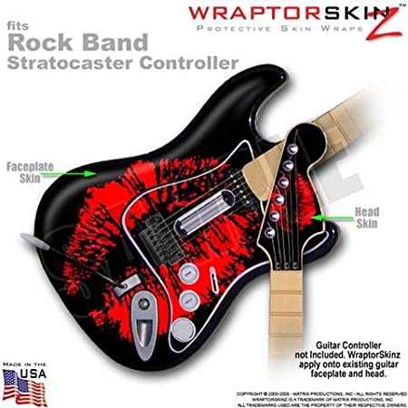 Big Kiss Red on Black WraptorSkinz Skin fits Rock Band Stratocaster Guitar for Nintendo Wii, XBOX 360, PS2 & PS3 (GUITAR NOT INCLUDED)