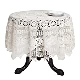 SARO LIFESTYLE 869 Crochet Tablecloths, 30-Inch, Round, White