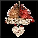 "Kurt Adler 4.5"" Resin Cardinals ON Birch Branch Orn: ""love Forever And Always."""