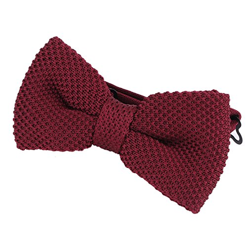 DonDon Papillon uomo fatto a maglia annodato e regolabile 11 x 6 cm rosso scuro