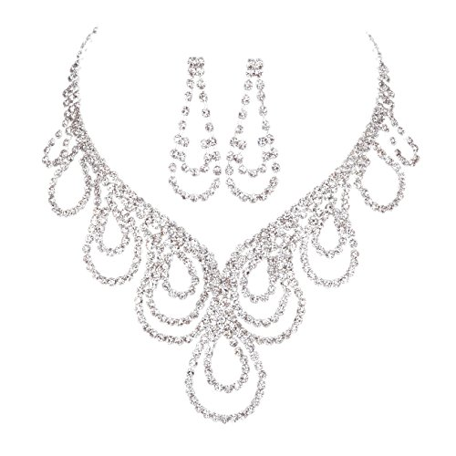 FAYBOX Sparkly Rhinestone Beaded Choker Necklace Earrings Wedding Jewelry Sets ¡­