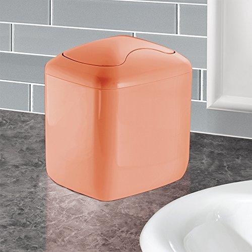 Countertop Garbage Can : InterDesign Una Vanity Countertop Wastebasket Trash Can, Coral Food ...