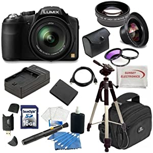Panasonic Lumix FZ200 Digital Camera w/ Ultimate Package, Includes 0.45x Wide Angle Lens, 2x Telephoto Lens, 3 Piece Filter Kit and much much more...