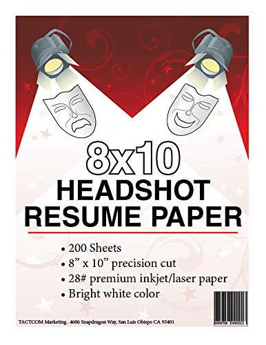 8 x 10 headshot resume paper