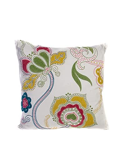 Cloud 9 Floral Embroidered Throw Pillow, Ivory/Multi