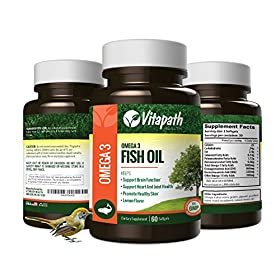 Omega 3 Fish Oil 1480mg Vitamin Supplement, Promotes Joint & Heart Health, Promotes Healthy Skin, 60 Count, By VitaPath