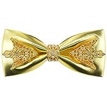 buy Deerland Mens Bow Ties Vintage Floral Pu Leather Bowtie Wedding Party Neckwear Ties (Gold)