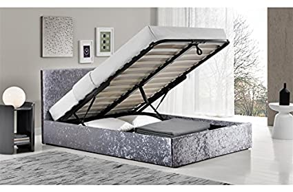 Luxus Standard Doppelbett 1,40m Crushed Velvet Ottoman Bett mit 25cm Memory Foam Matratze FTA