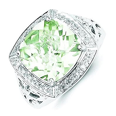 Sterling Silver Green Quartz and Diamond Ring - Ring Size Options Range: N to R