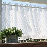 SunnyDayFabric カフェカーテン フェアリー ホワイト ビーズ付き 約幅125cm×丈45cm(ビーズ含)