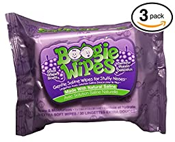 (PACK OF 3) Boogies Wipes GRAPE SCENT. Hypoallergenic natural Saline Baby Wipes for Runny Noses. VITAMIN-E & ALOE to Moisturize on Contact. DISSLOVES DRY MUCUS. (3 Packages, 30 Wipes in Each)