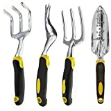 HIPA 4 Piece Garden Hand Tool Weeder Fork Cultivator Transplanter Set