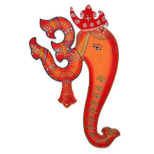 om-ganesh-wall-hanging-painting-orange-red-base-colours-with-decorative-motifs