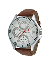 Swiss Trend Stylish Mens Wrist Watch With White Dial And Brown Strap