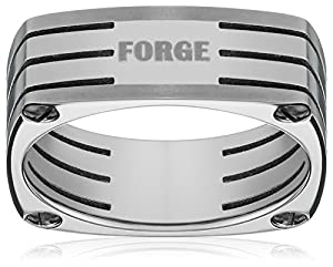 Men's Titanium 7mm Forge Four Sided Plain Wedding Band Featuring Three Center Cuts Through the Ring, Size 9