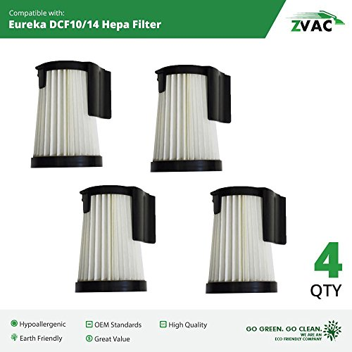Eureka DCF-10 & DCF-14 Washable Filters - 4 Pack - Similar to Eureka Part # 62731, 62396 - Made by ZVac (Hepa Filter Dcf 10 14 Eureka compare prices)
