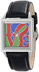 """The P.S. Collection by Arjang and Co. Women's PS-2010S-BK """"For Some One Special"""" Iconic Love Stainless Steel Square Enamel Dial Black Leather Strap Watch"""