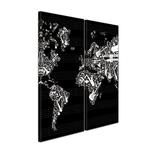 "Bilderdepot24 Leinwandbild ""Weltkarte Musik"" - 70x50 cm 1 teilig - fertig gerahmt, direkt vom Hersteller"