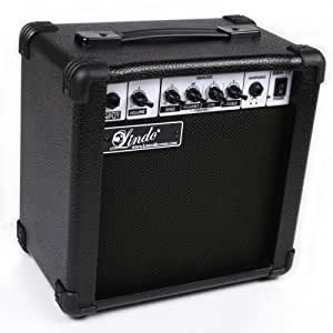 Lindo SBA-15 Series 15W 2 Channel Electric Bass Guitar Amplifier with 6.5 inch Speaker and Dual Sound Ports - Black